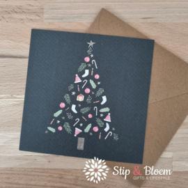 Appeloogje enkele kerstkaart - kerstboom donker
