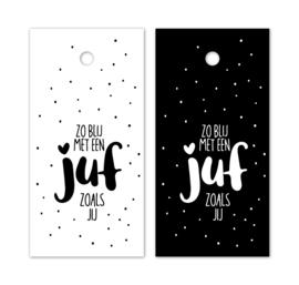Cadeaulabel  - juf zwart/wit - per stuk