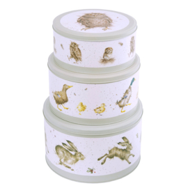 Wrendale Cake Tin Nest - hare/duck/owl