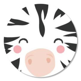 Tante Kaartje sticker 50mm - Faces - Zebra - per 10