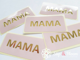 Sticker - mama- roze/goud - per 5