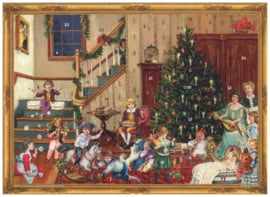 Adventskalender Familie bij kerstboom