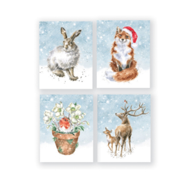 """Wrendale Boxed Mini Charity Christmas Cards  """"Hare"""" - set van 16"""