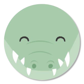 Tante Kaartje sticker 50mm - Faces - Krokodil - per 10