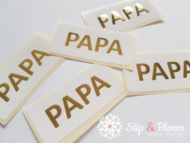 Sticker - papa - wit/goud - per 5