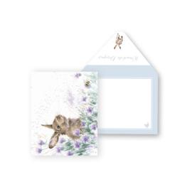 "Wrendale mini card ""Meadow Rabbit"" - konijn"
