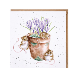 "Wrendale greeting card - ""Garden Friends"" - muis"