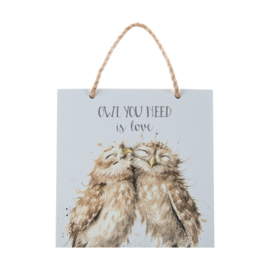 """Wrendale Wooden Plaque """"Owl You Need is Love"""" - uil"""