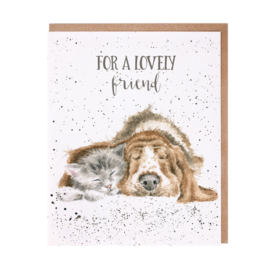 "Wrendale greeting card ""For a Lovely Friend"" - hond & poes"