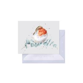 """Wrendale mini card """"Robin & Eucalyptus"""" - roodborstje"""