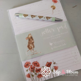 "Wrendale A5 Jotter Pad ""Mouse & Poppy"" - muis"