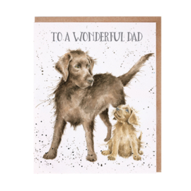 "Wrendale greeting card ""Wonderful Dad"" - hond"