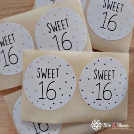 Sticker  40mm - sweet 16 - per 20
