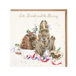 "Wrendale Christmas card - ""Eat, Drink and Be Merry"""