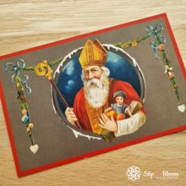 Nostalgische Sintkaart - Sint Nicolaas