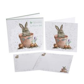 "Wrendale Notecard Pack ""The Flower Pot"" - konijn"