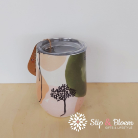 Bioloco rvs office cup - Olive & peach