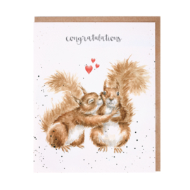 "Wrendale greeting card ""Congratulations"" - eekhoorn"