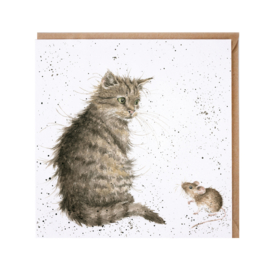 "Wrendale greeting card - ""Cat & Mouse"" - poes"
