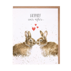"Wrendale greeting card ""Hoppily Ever After"" - konijn"