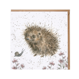 "Wrendale greeting card - ""A Prickly Encounter"" - egel"