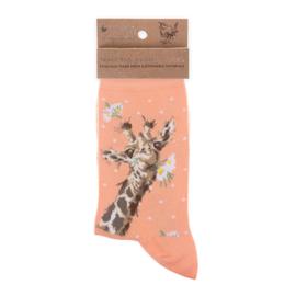 "Wrendale sokken ""Flowers""- giraffe"