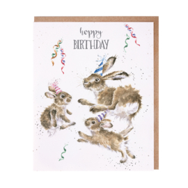 "Wrendale greeting card ""Hoppy Birthday"" - konijn"
