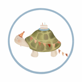 Getekenddoorzusje - 4cm sticker schildpad - per 10