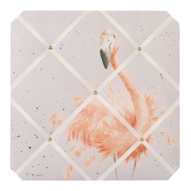 "Wrendale Fabric Notice Board - ""Pretty in Pink"" - flamingo"