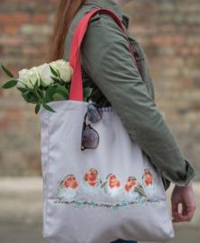 "Wrendale canvas tote bag ""Jolly Robin"" - roodborstje"