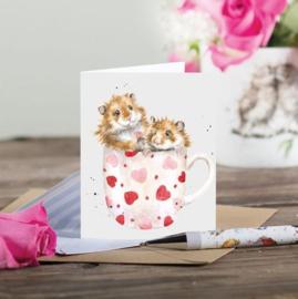 """Wrendale mini card """"Mug Full of Love"""" - hamster"""