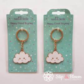 Emaille sleutelhanger happy cloud