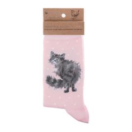 "Wrendale sokken ""Glamour Puss"" - poes"