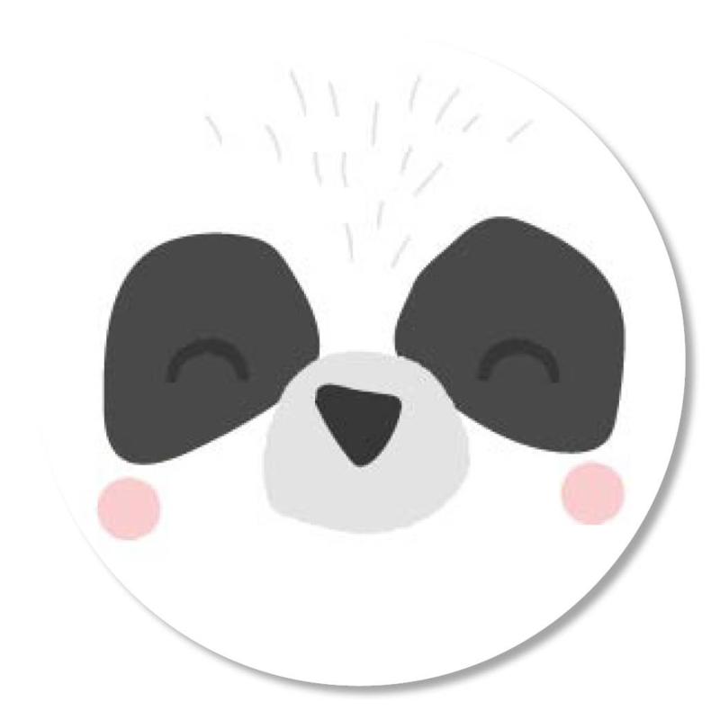 Tante Kaartje sticker 50mm - Faces - Panda - per 10