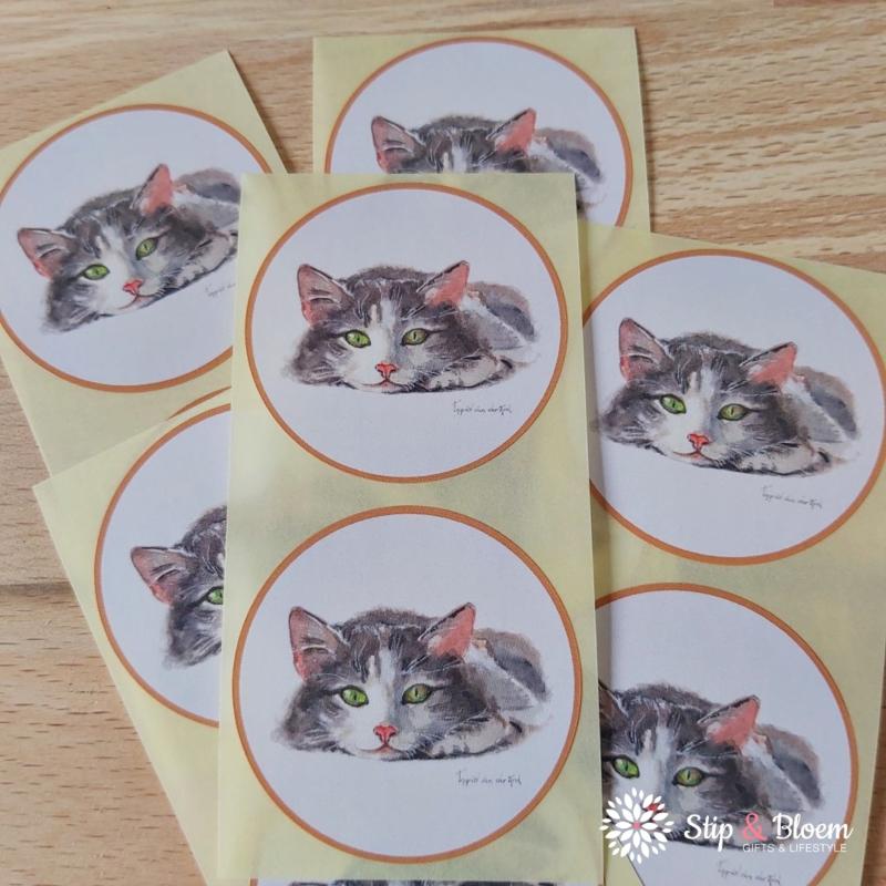 Sticker 45mm - poes - per 10
