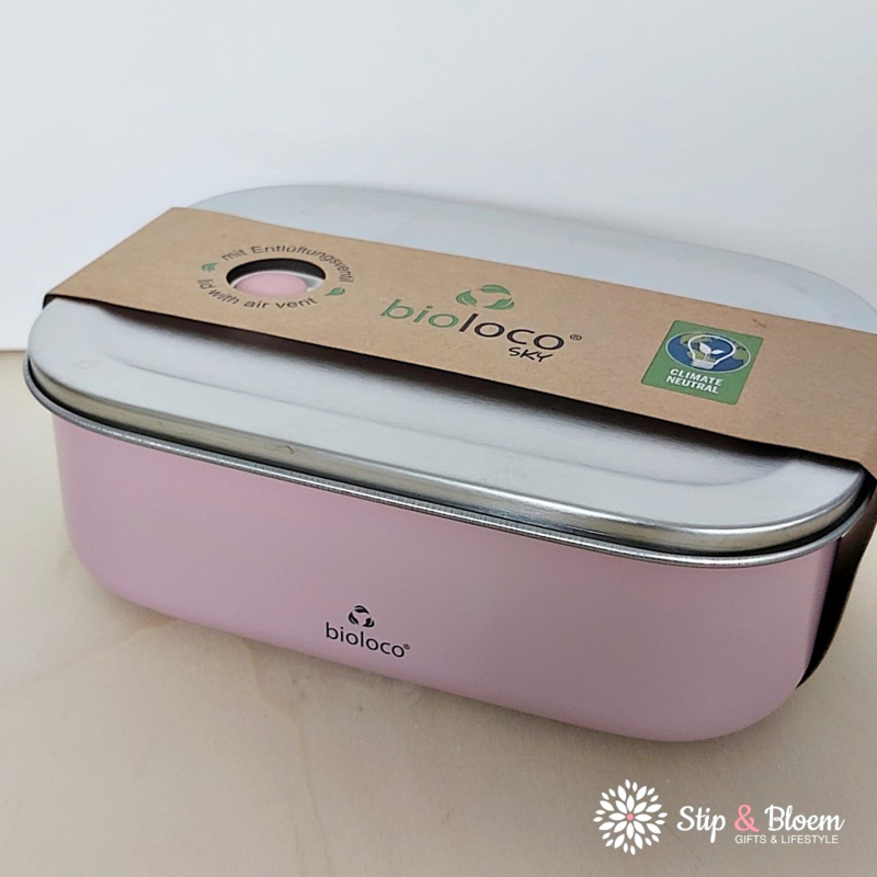 Bioloco Sky rvs lunchbox - Pink