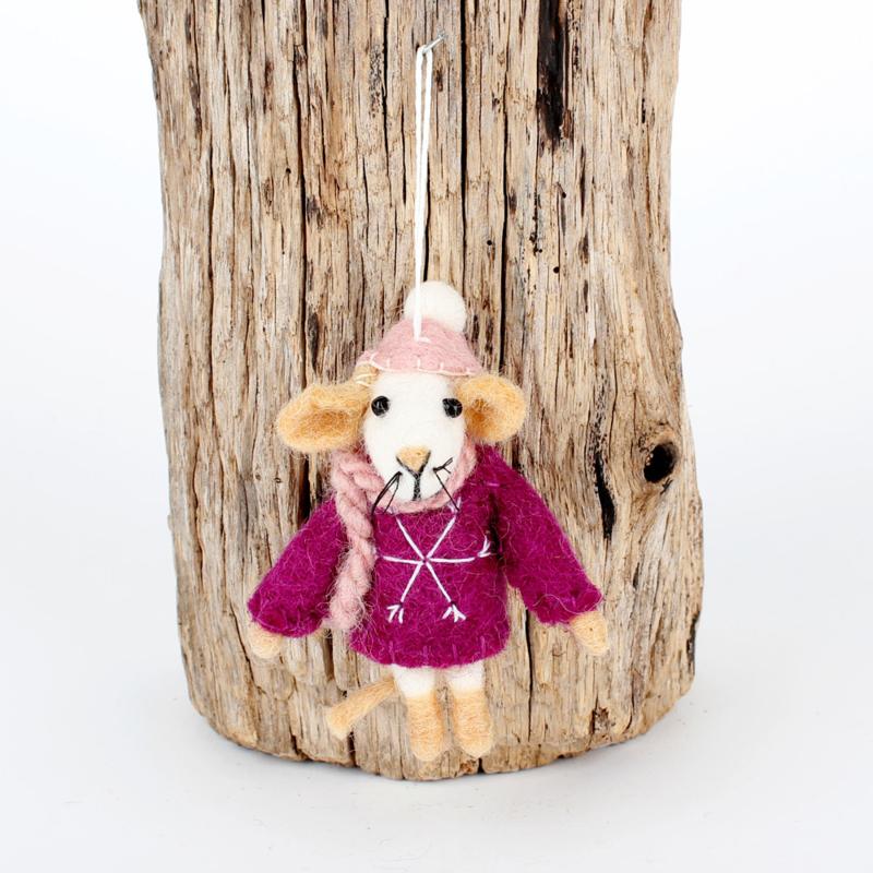 Vilten hanger - muis met trui - paars