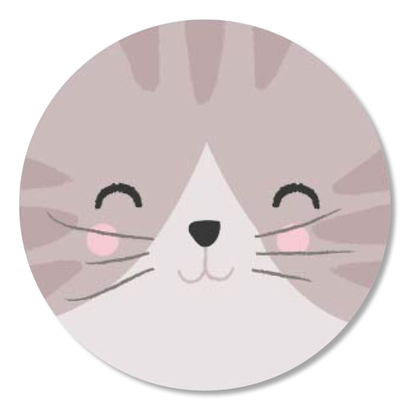 Tante Kaartje sticker 50mm - Faces - Poes - per 10