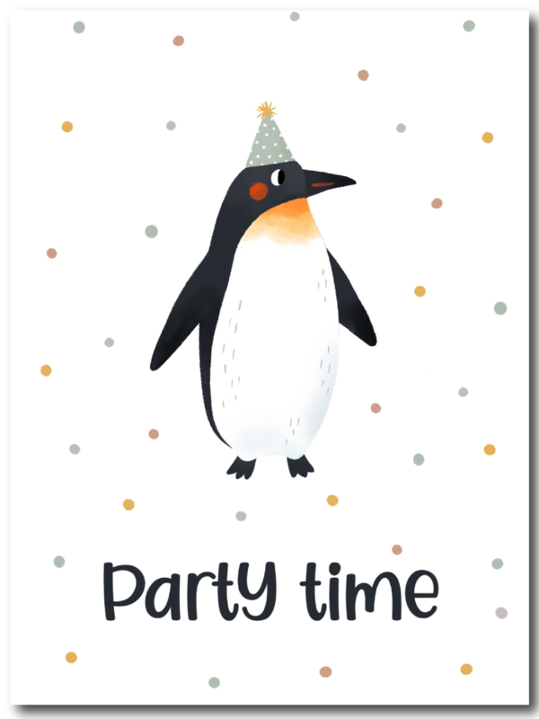 Ansichtkaart - Party Time pinguin