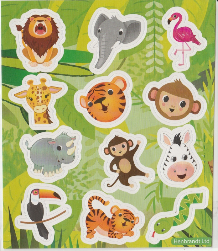 Stickervelletje jungle dieren