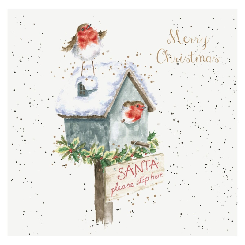 """Wrendale Boxed Christmas Cards  """"Please Stop Here"""""""