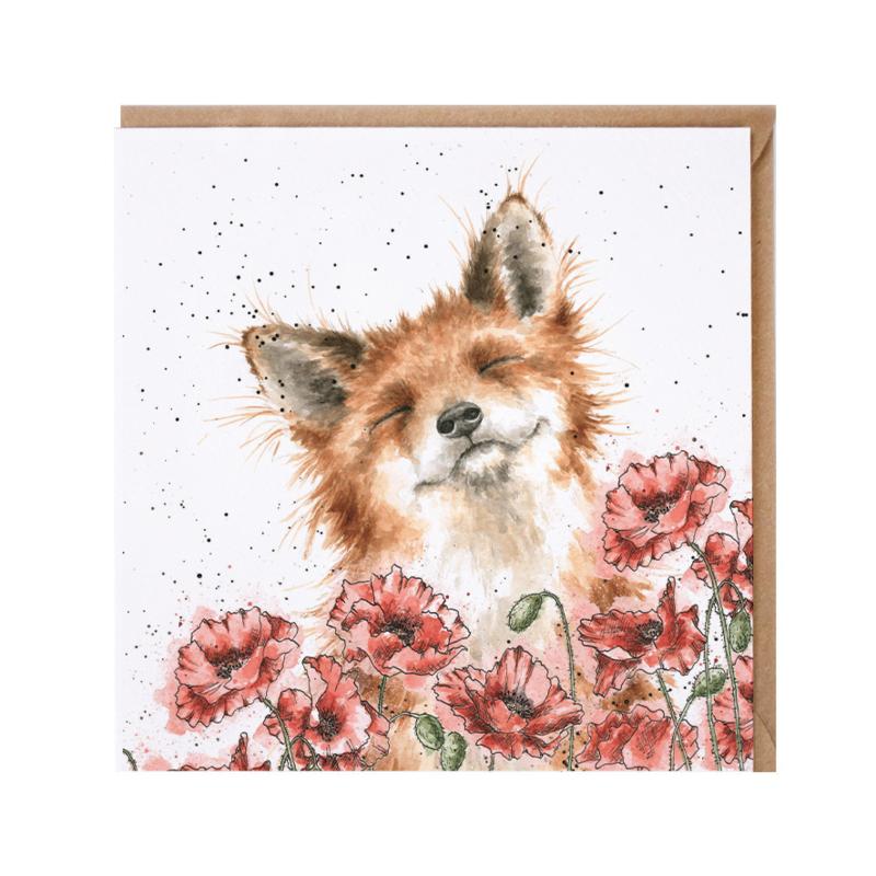 "Wrendale greeting card - ""Poppy Fields"" - vos"