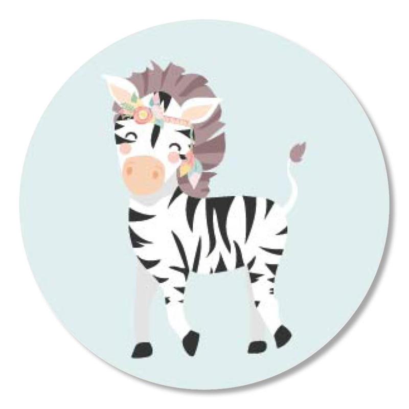 Tante Kaartje sticker 50mm - Boho Animals - Zebra - per 10