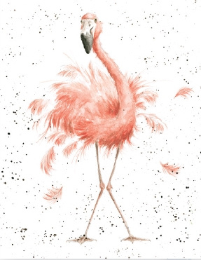 "Wrendale mini card ""Pretty in Pink"" - flamingo"
