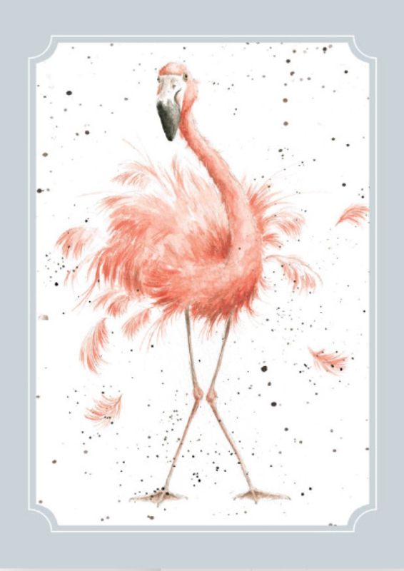 "Wrendale postcard ""Birthday Girl"" - flamingo"