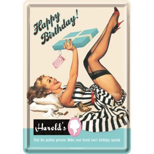 Metal postcard - Happy Birthday - Harold's
