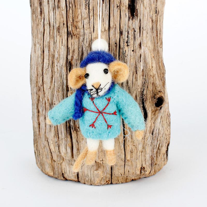 Vilten hanger - muis met trui - turquoise
