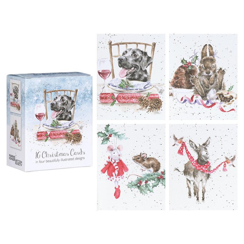 "Wrendale Boxed Mini Charity Christmas Cards  ""Labrador"" - set van 16"