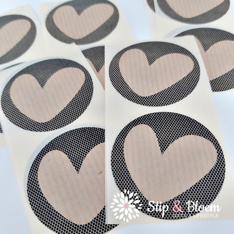 Sticker - kraft hart stippen zwart - per 20