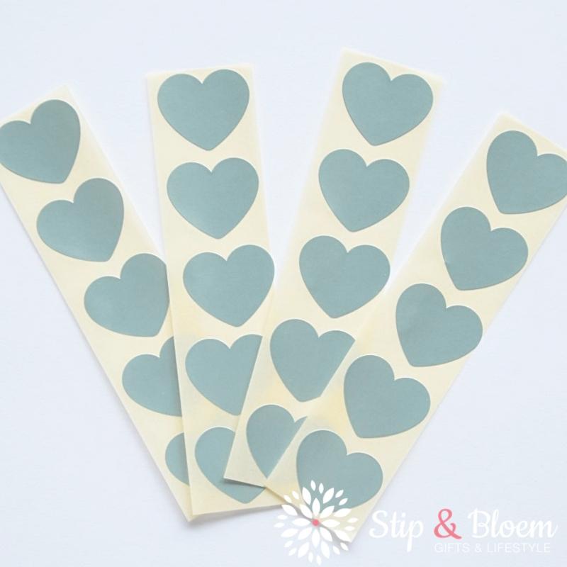 Sticker mini hart - 2cm - metallic ijsblauw - per 20